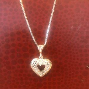 Sterling Silver Diamond Cut Heart Necklace